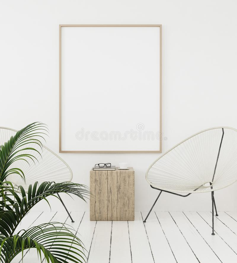 Mock-up poster frame on wall with minimal decor, Scandinavian style stock illustration