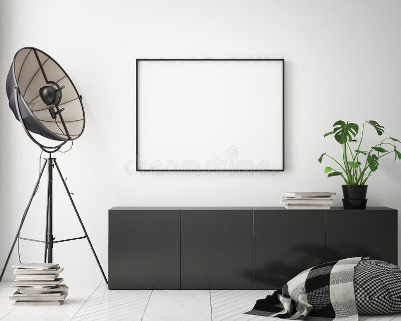 Mock up poster frames in children bedroom, scandinavian style interior background, 3D render. 3D illustration royalty free illustration