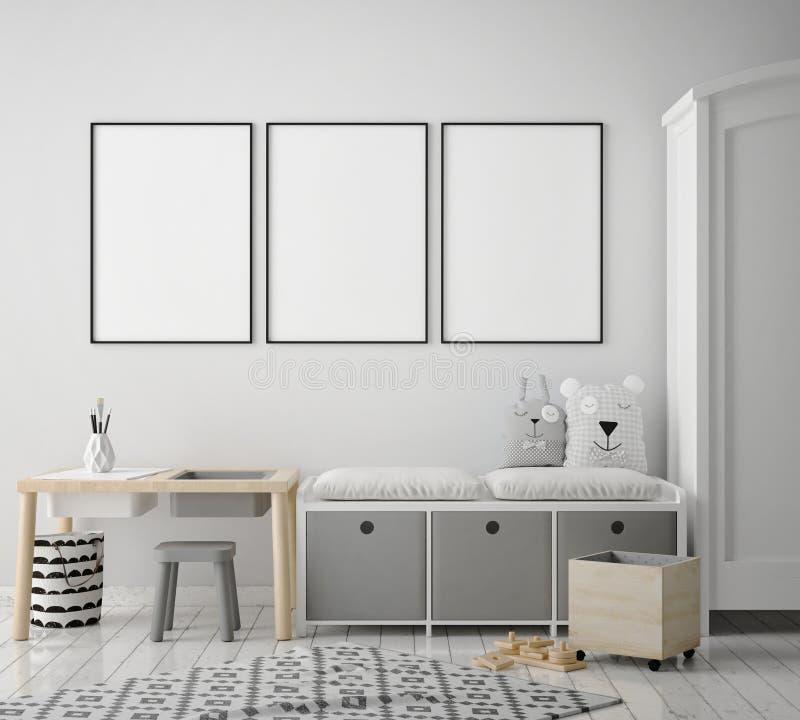 Mock up poster frames in children bedroom, scandinavian style interior background, 3D render. 3D illustration vector illustration