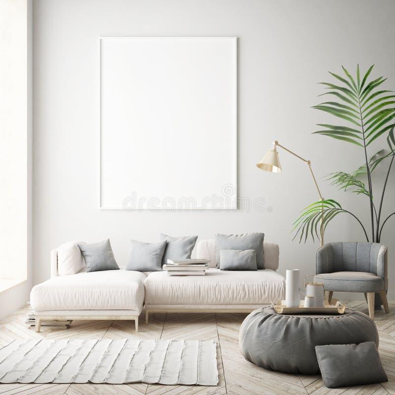 Mock up poster frames in children bedroom, scandinavian style interior background, 3D render stock illustration