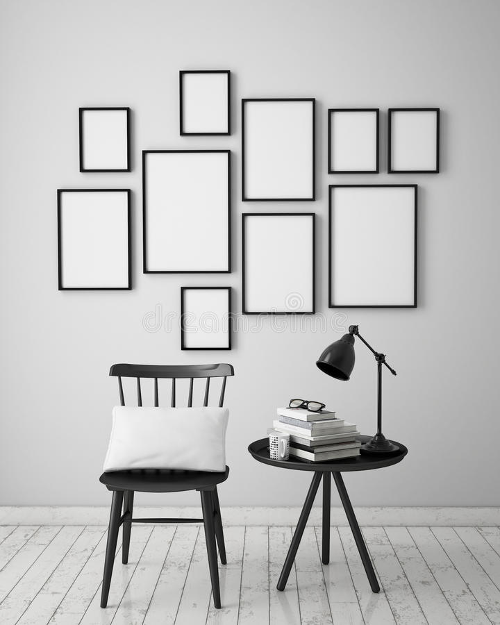 Mock up poster frames composition with vintage hipster loft interior background, royalty free stock photo
