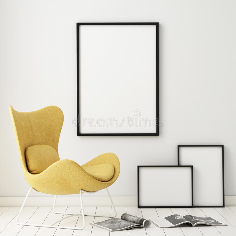 Mock up poster frames in hipster interior background, royalty free stock photos