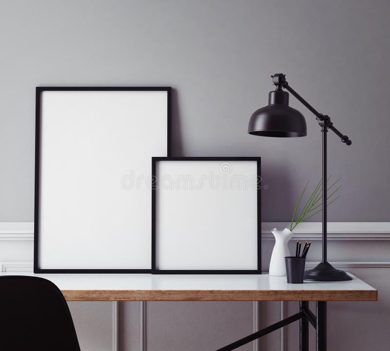 Mock up poster frames in hipster interior background, 3D render. Mock up poster frames in hipster interior background