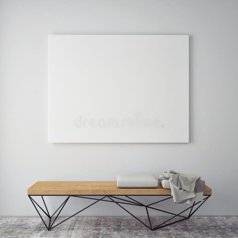 Mock up poster frames in hipster interior background stock illustration