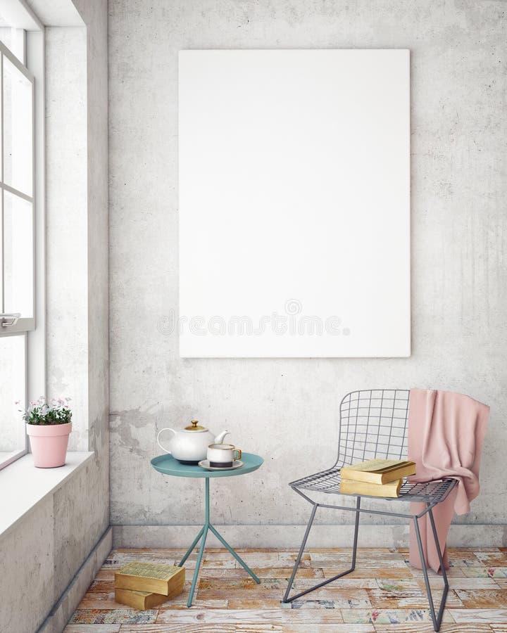 Mock up poster frames in hipster interior background. 3D render