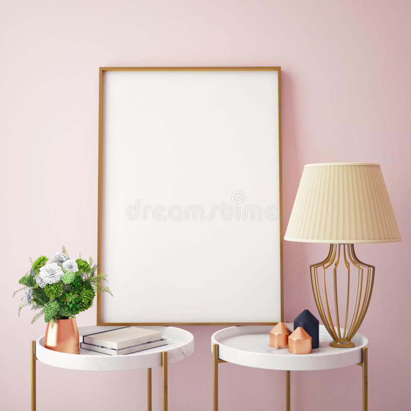 Mock up poster frames in hipster interior background, royalty free stock photo