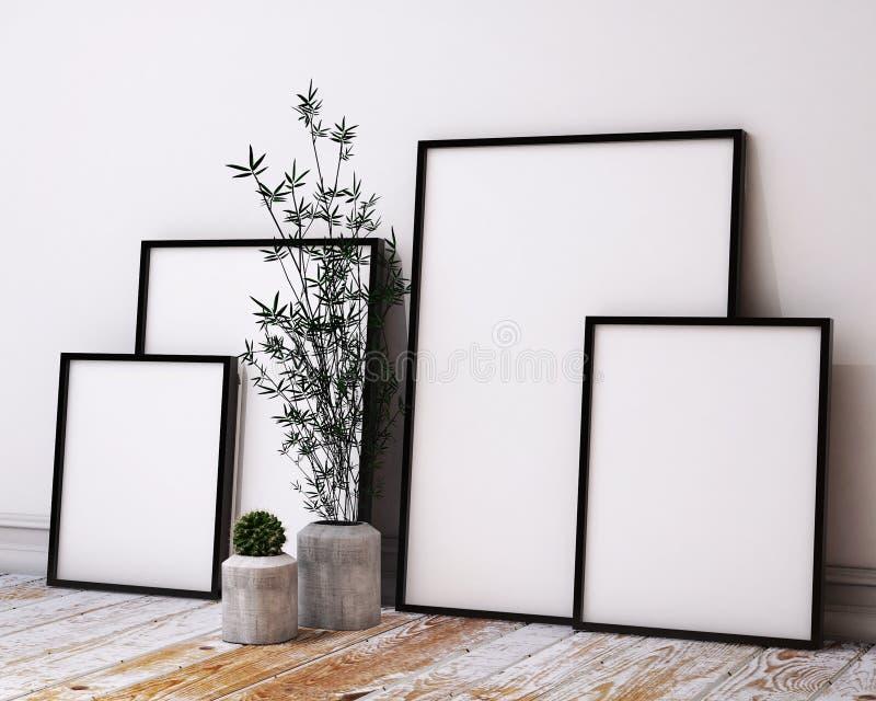 Mock up poster frames in hipster loft interior vector illustration