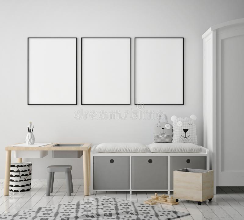 Free Mock Up Poster Frames In Children Bedroom, Scandinavian Style Interior Background, 3D Render Stock Photo - 108330950