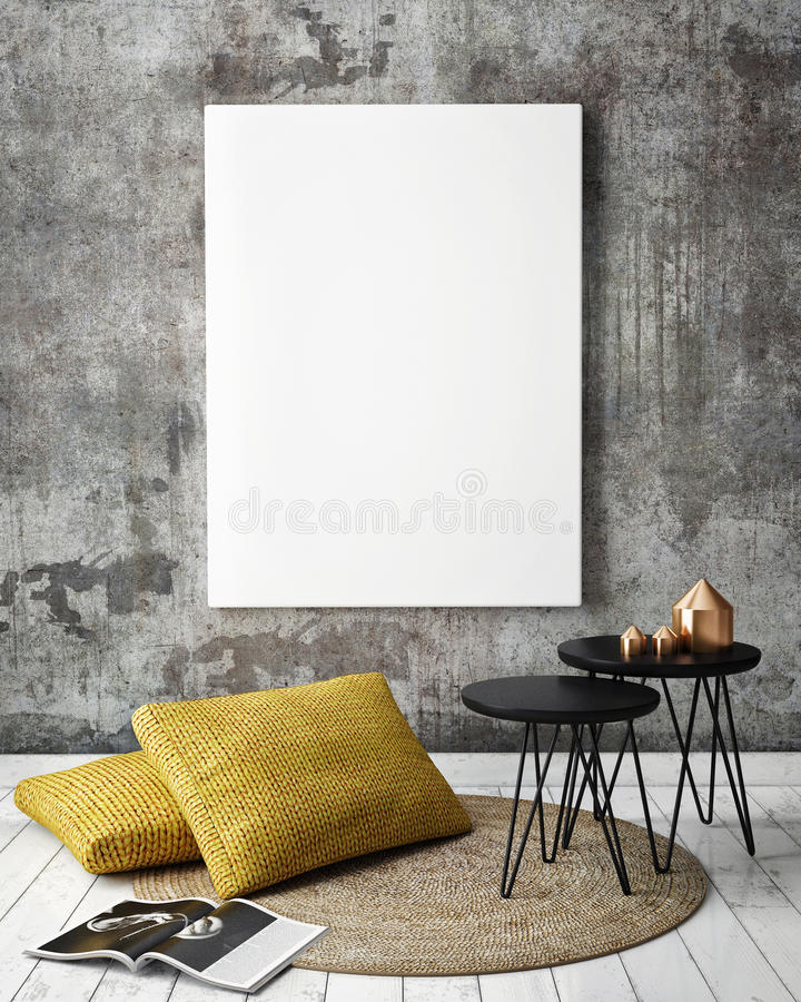 Free Mock Up Poster Frames In Hipster Interior Background Royalty Free Stock Photography - 61716107