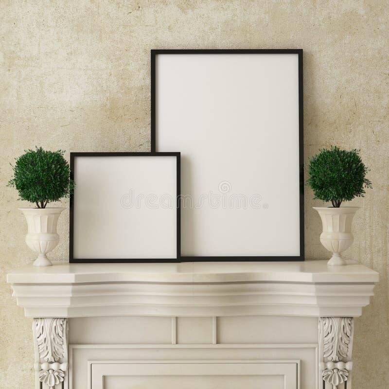 Mock up poster frames on retro fireplace, vintage interior background, stock photo