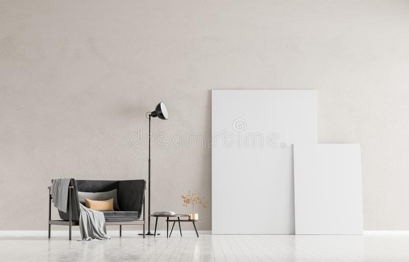 Mock up poster frames in scandinavian style interior with arcmhair. Minimalist interior design. 3D illustration stock images