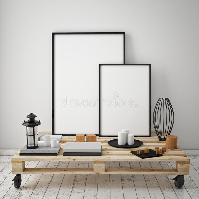Free Mock Up Poster Frames With Vintage Hipster Loft Interior Background, Stock Photos - 59967153