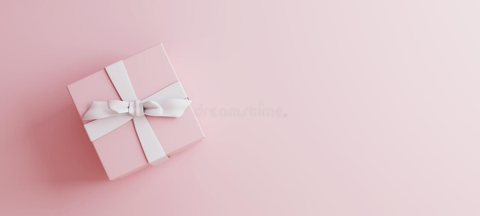 Mock-up poster, gentle millennial pink colored gift box with white bow on light pink background stock photography