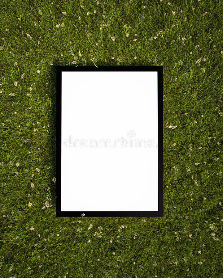 Mock up poster on the grass, background. 3D render royalty free stock photos