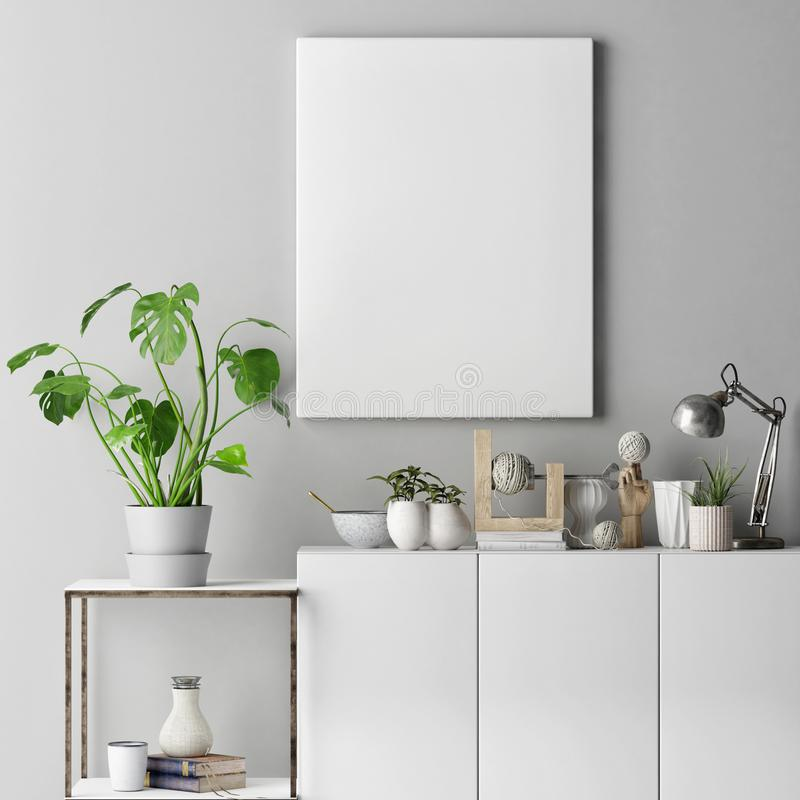 Mock up poster on gray wall with decoration set stock illustration