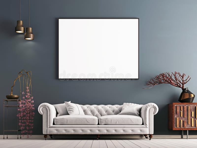 Mock up poster on gray wall in interior classical style with white sofa, and decor. royalty free illustration