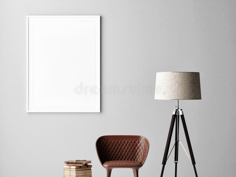 Mock up poster on gray wall, interior minimalism design, lamp, chair, books royalty free illustration