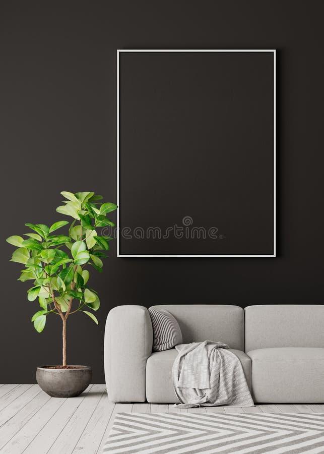 Mock up poster on gray wall, modern living room interior design 3D Render stock illustration