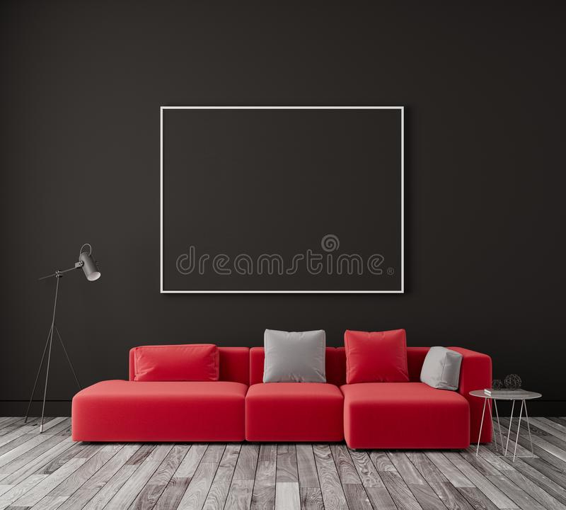 Red Leather Couch On Black Wall Stock Illustration