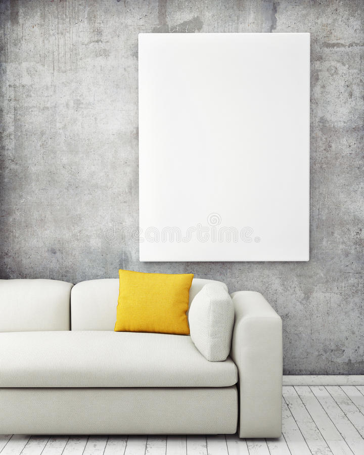 Mock up poster in hipster interior background stock images