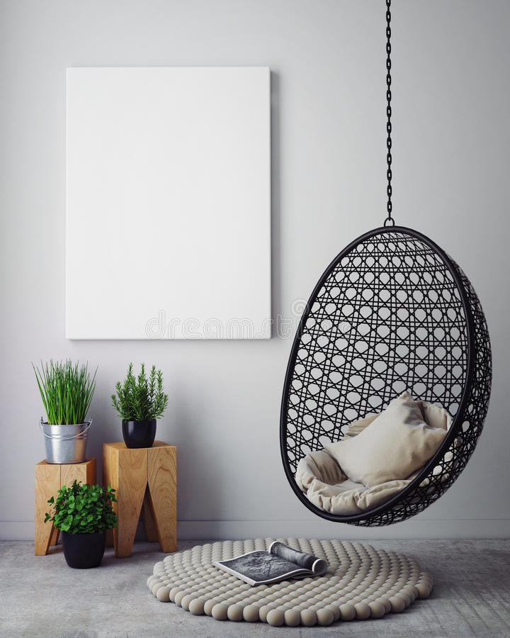 Mock up poster in hipster interior background, royalty free stock photography