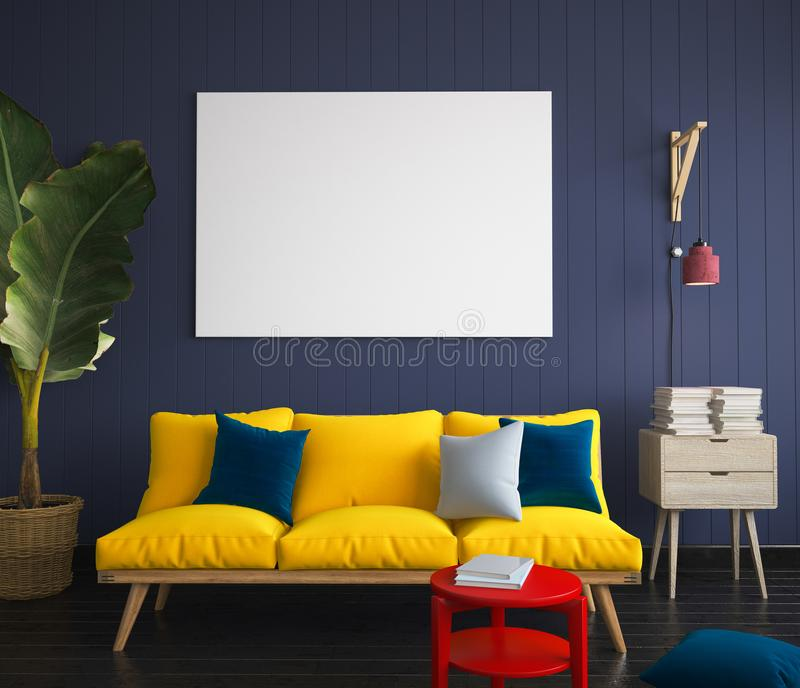 Mock up poster in hipster interior with yellow sofa stock photos