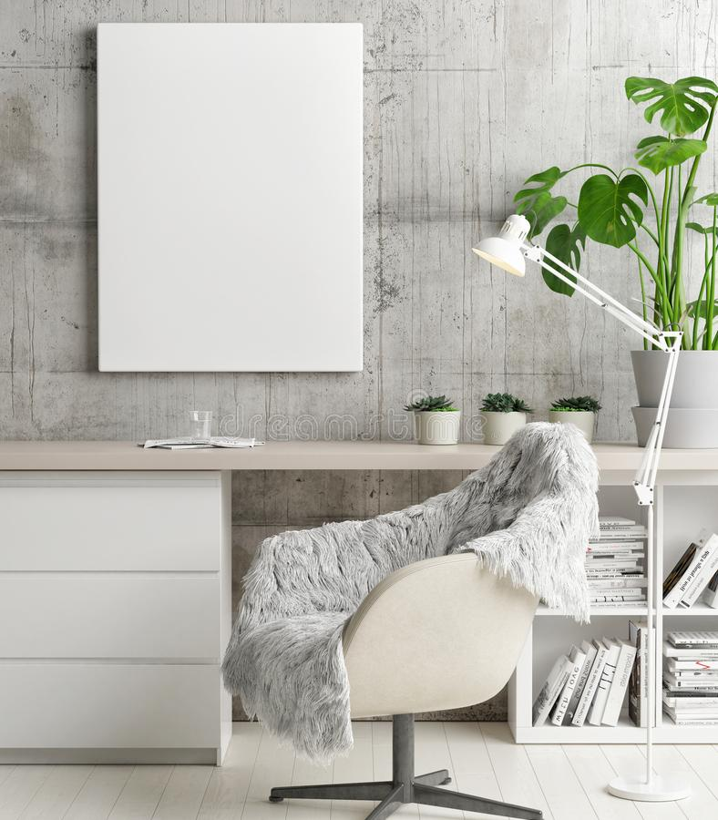 Mock up poster in hipster`s office, concept interior design royalty free illustration