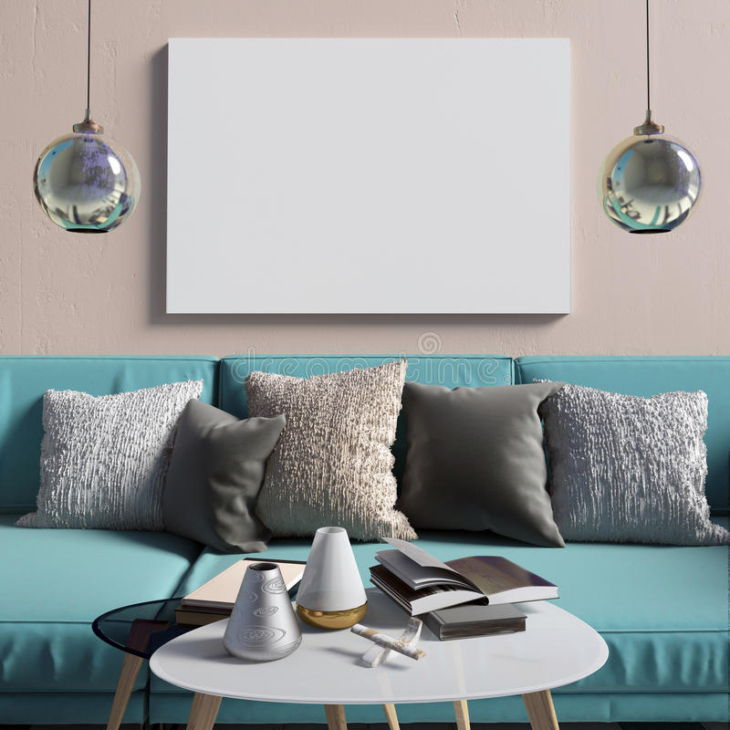 Free Mock Up Poster In Interior With Coffee Table And Sofa. Living Room. Resting Place. Modern Style. 3d Illustration Royalty Free Stock Images - 99160109