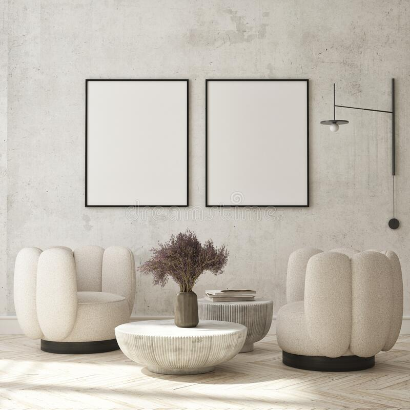 Free Mock Up Poster In Modern Interior Background, Living Room, Minimalistic Style 3D Render Stock Photo - 225618320