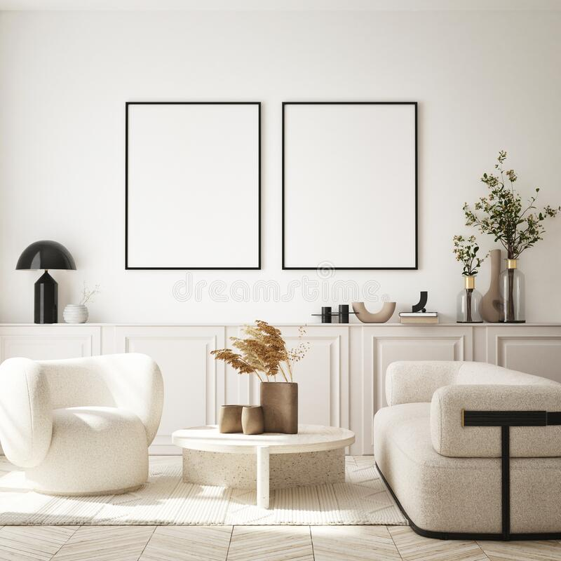 Free Mock Up Poster In Modern Interior Background, Living Room, Minimalistic Style 3D Render Royalty Free Stock Image - 225618326