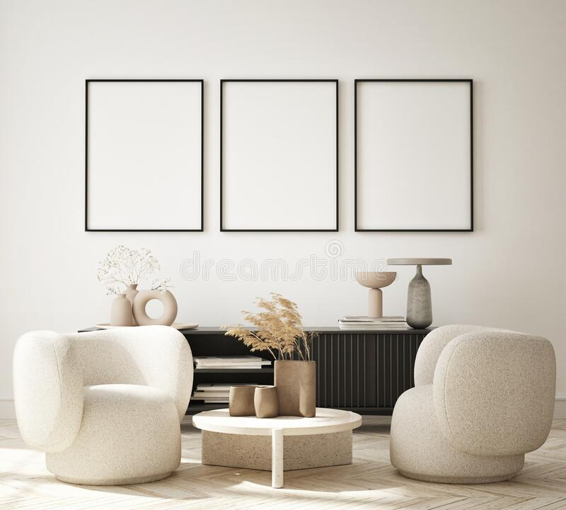 Free Mock Up Poster In Modern Interior Background, Living Room, Minimalistic Style 3D Render Stock Photo - 225618330