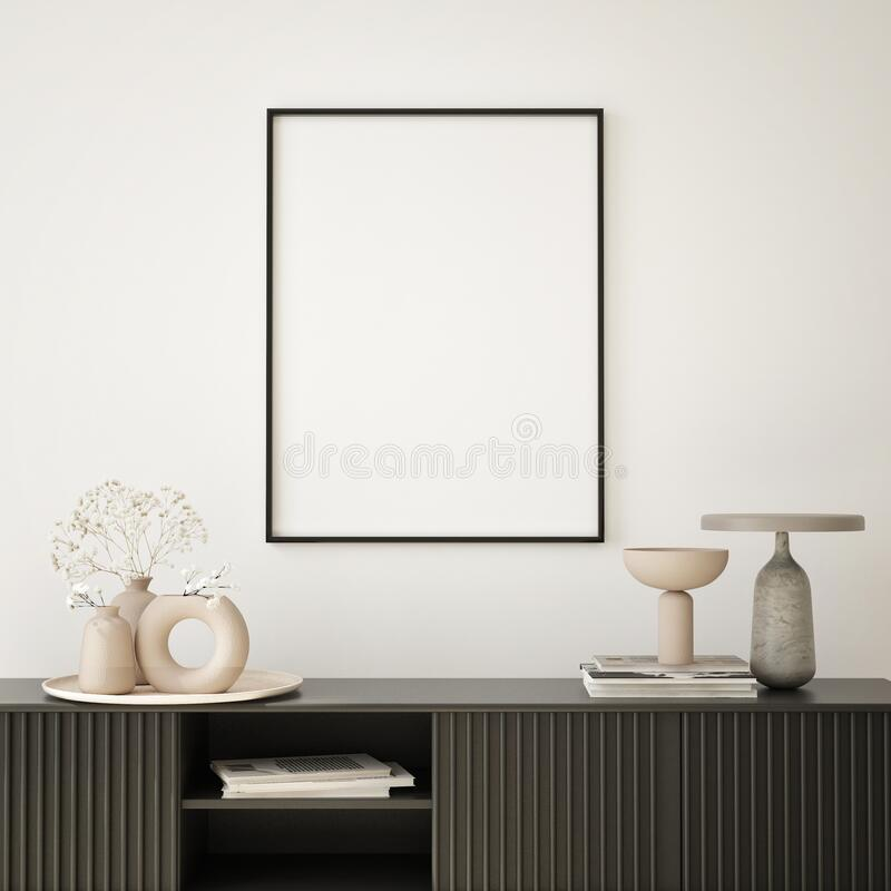 Free Mock Up Poster In Modern Interior Background, Living Room, Minimalistic Style 3D Render Stock Images - 225618334