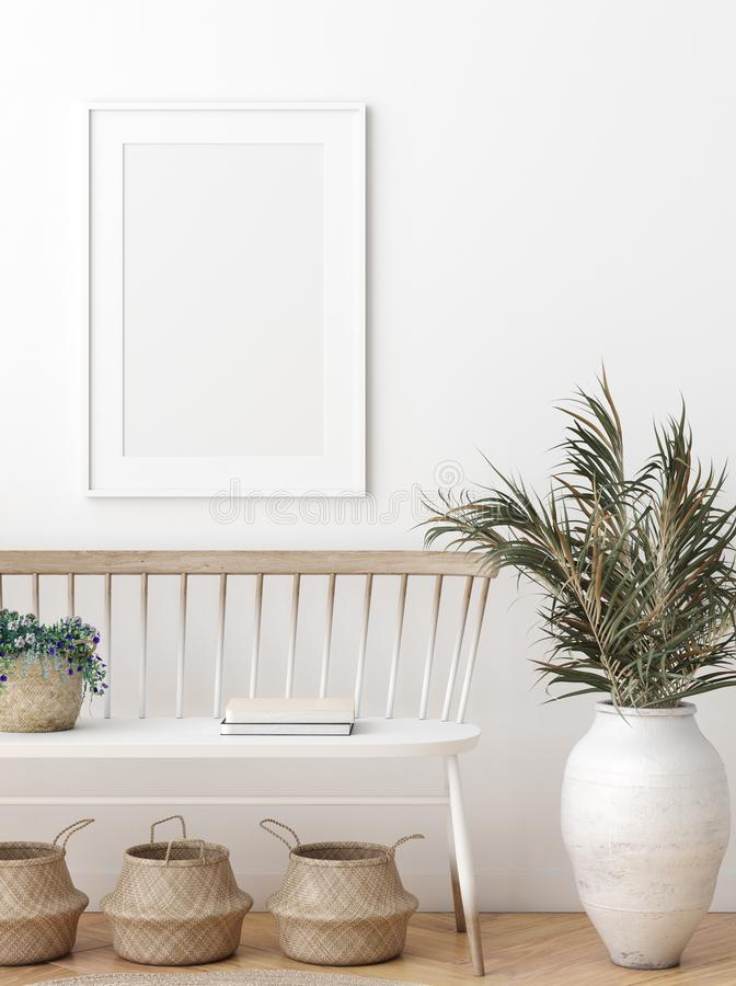 Free Mock Up Poster In Scandinavian Interior With Bench, Baskets And Palm Branches In Pots Royalty Free Stock Image - 161054076