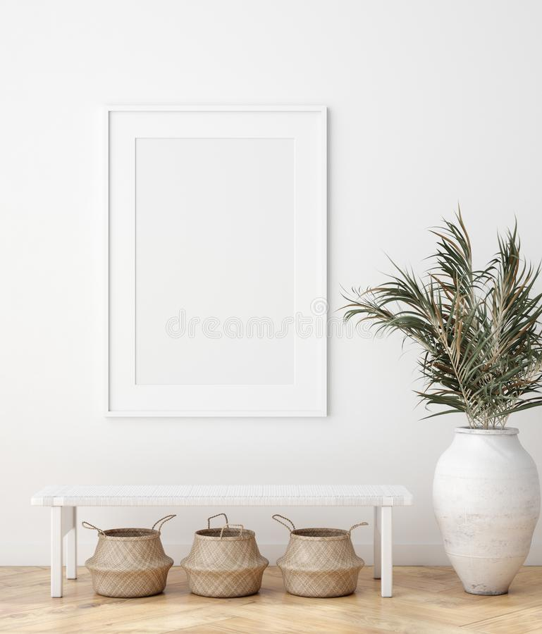 Free Mock Up Poster In Scandinavian Interior With Bench, Baskets And Palm Branches In Pots Royalty Free Stock Photography - 161054087