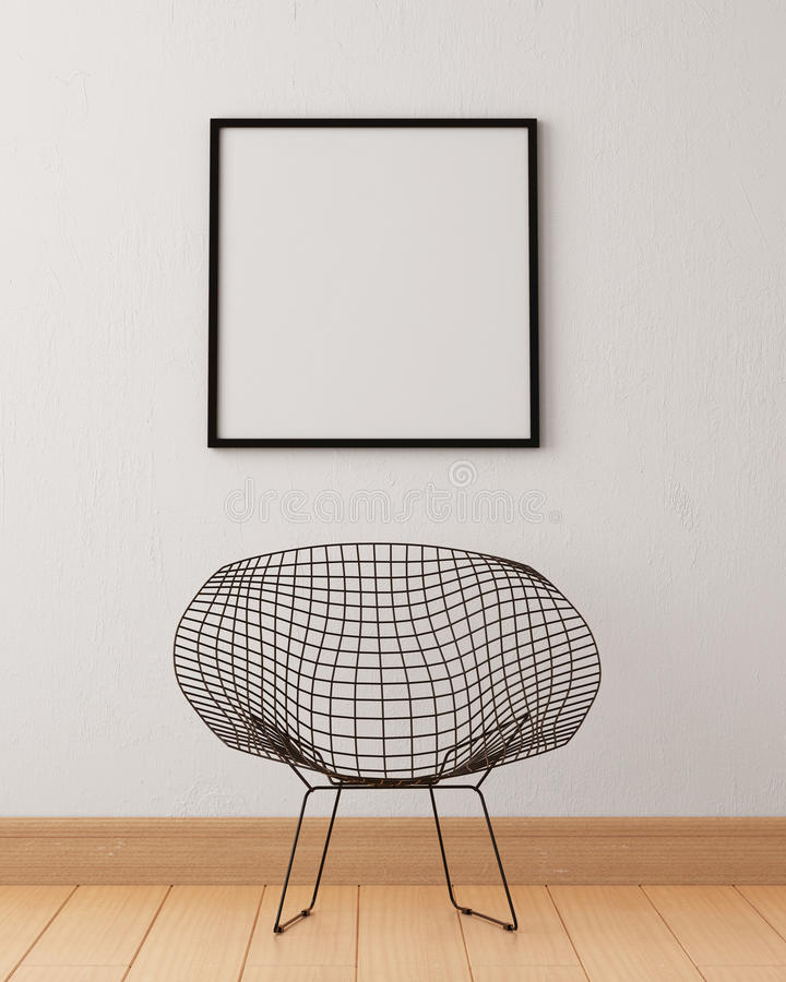 Free Mock Up Poster In The Interior Of A Living Room With A Skeletal Metal Chair. 3d Illustration 3d Render. Royalty Free Stock Images - 81886099