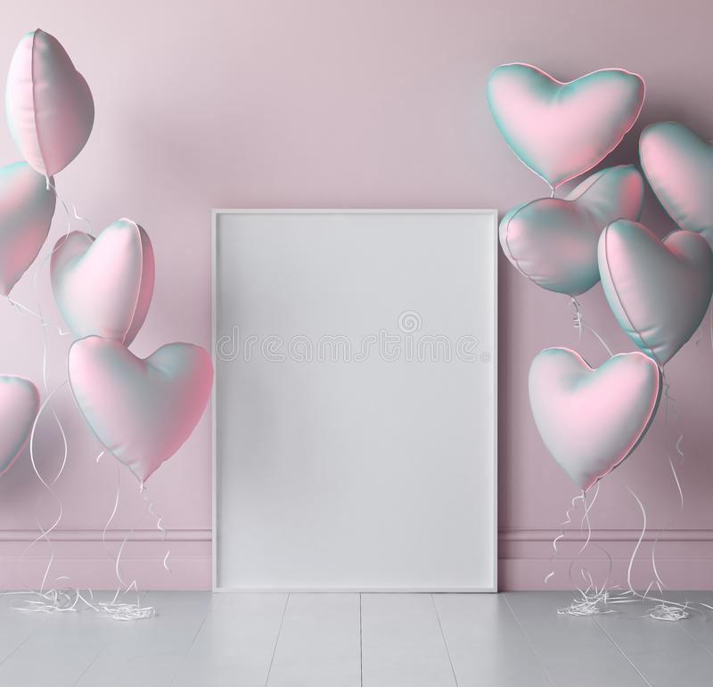 Mock up poster in interior background with pastel balloons royalty free stock images