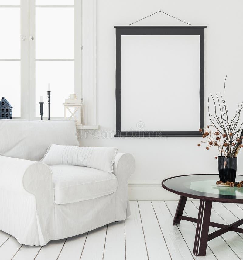 Mock-up poster, interior background, Scandinavian style stock illustration