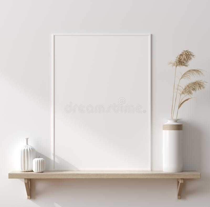 Mock up poster in interior background, Scandinavian style. 3D render royalty free stock images