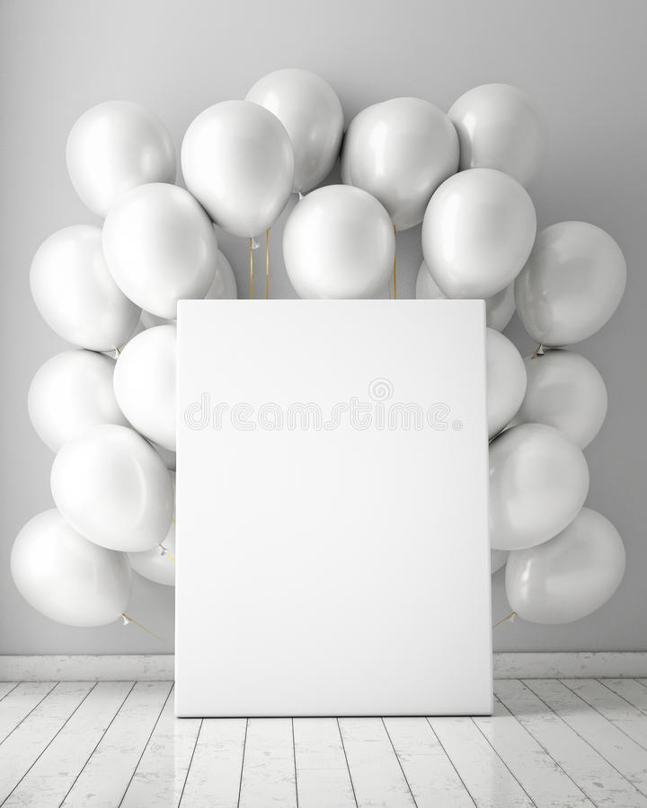 Mock up poster in interior background with white balloons, royalty free stock photography
