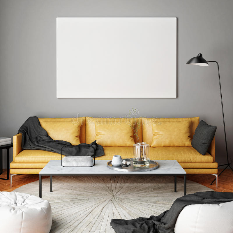 Mock up poster, interior composition, sofa, lamp and white poster,. 3d render stock illustration