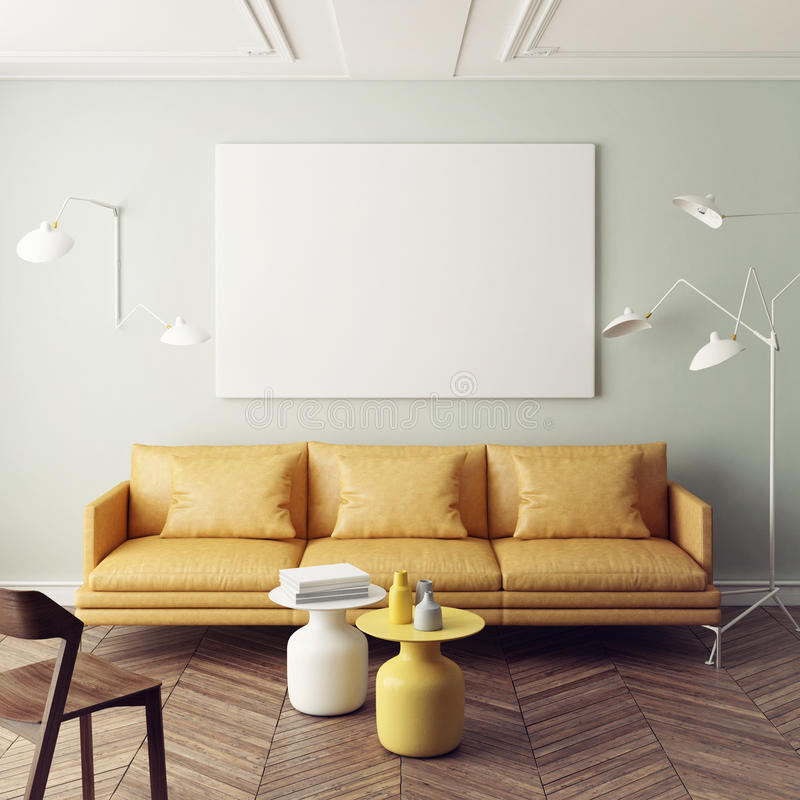 Mock up poster, interior composition, sofa, lamp and white poster. 3d render stock illustration