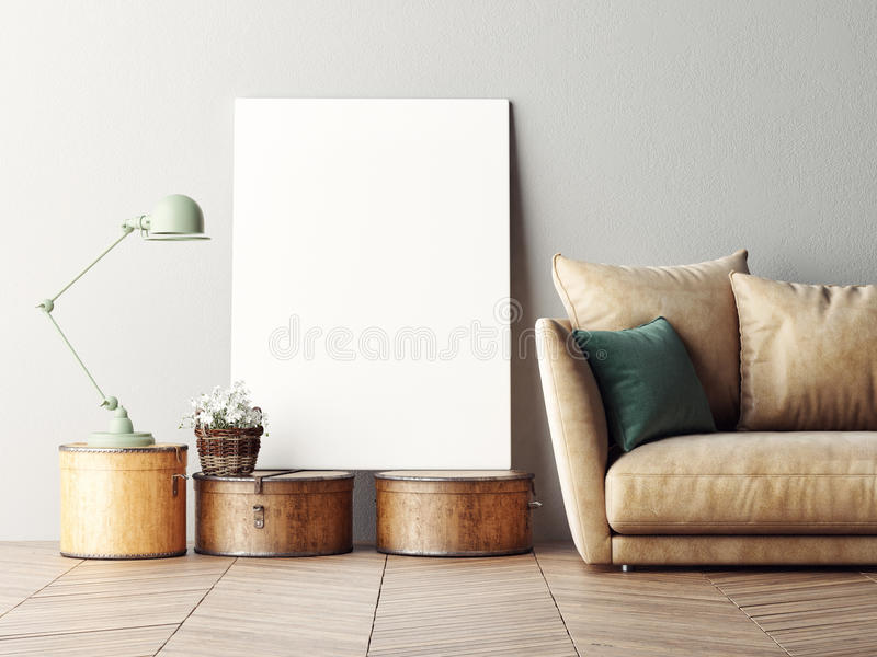 Mock up poster, interior composition, sofa, lamp and white poster. 3d rendering royalty free illustration