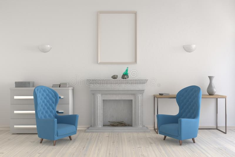 Mock up poster in an interior with a fireplace and chairs. royalty free illustration
