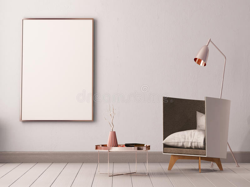 Mock up poster in the interior of a living room with armchairs and lamps. 3d illustration 3d render. Mock up poster in the interior of a living room with vector illustration