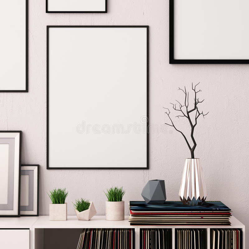Mock up poster in the interior of the living room with boxing for vinyl LPs. hipster trend style. 3d rendering, 3d illustration. stock illustration