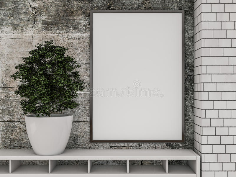 Mock up poster in the interior of the living room. 3D stock photos