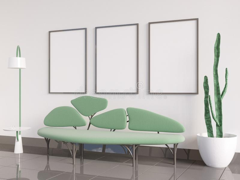 Mock up poster Interior, sofa in the form of a tree, on a white background 3D rendering, 3D illustration stock illustration