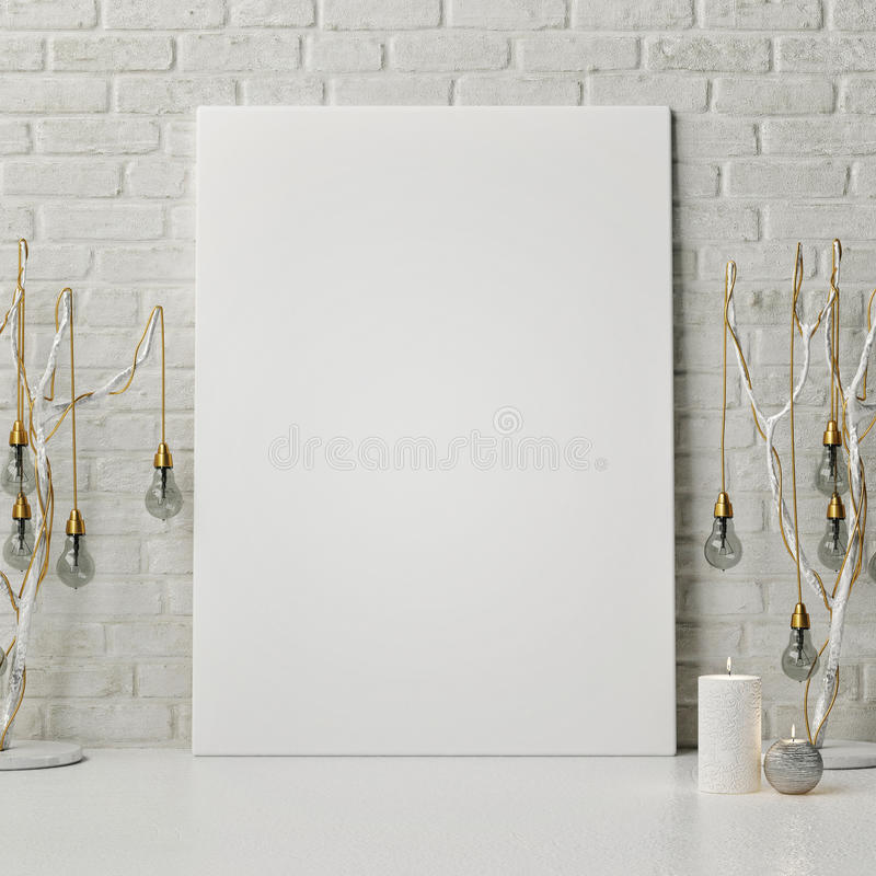 Mock up poster with lamps. 3d illustration vector illustration