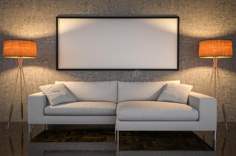 Mock up poster, leather sofa, concrete wall background, 3d illus vector illustration