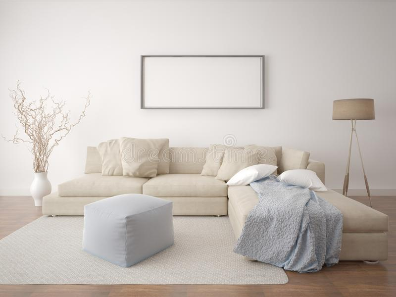 blank living room wall mock up poster living room stock illustration 16378